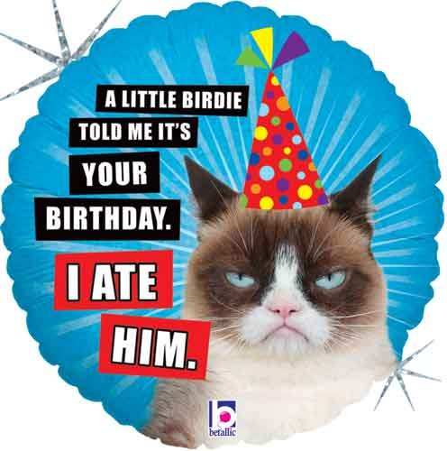 "18"" Grumpy Cat I Ate Him Birthday Foil Balloon - 5 Pack"