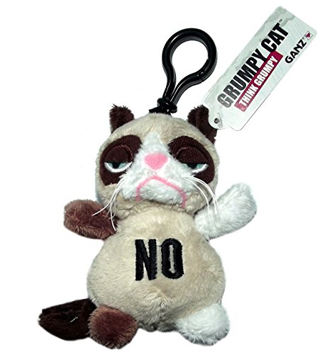 Grumpy Cat Embroidered Expression Plush Keychain, No