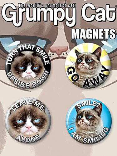 "Ata-Boy Grumpy Cat Set of 4 1.25"" Button Magnets for Refrigerators and Lockers"