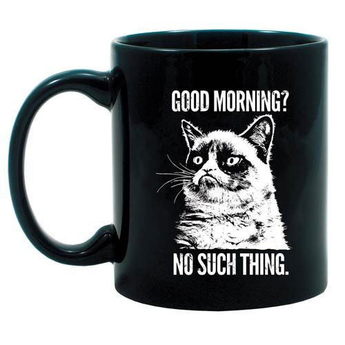 Grumpy Cat Good Morning? No Such Thing Black Mug
