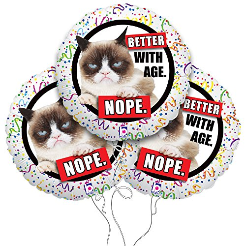 "Grumpy Cat ""Better With Age"" Mylar Balloon 3 Pack"