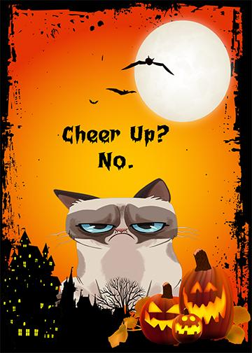Grumpy Cat Halloween Cheer Up - Doorfoto Door Decor