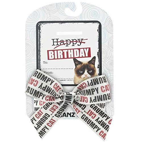 "Grumpy Cat Sentiments ""Happy Birthday"" Bow & Card"