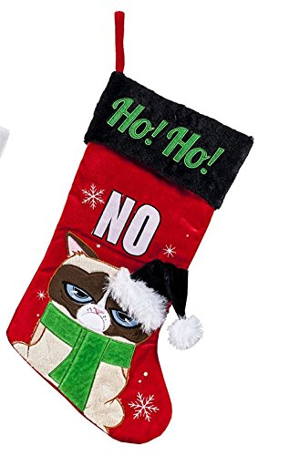 Christmas Grumpy Cat Applique Stocking (Assorted Styles)
