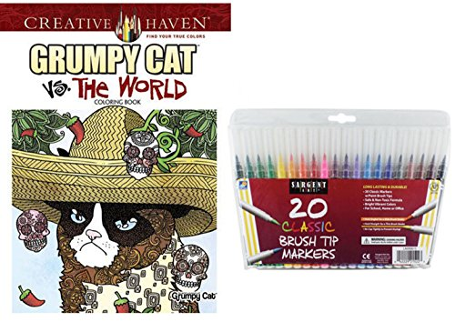 Adult Coloring Book Gift Set, Dover Grumpy Cat vs The World Coloring and Sargent Art Firm Brush Tip Marker Pens in a Case, Set of 20: Stress Relieving, Color a Really Lovable Cranky Cat, Enjoy!