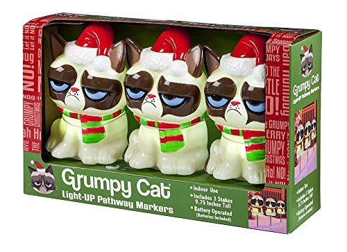 Santa Grumpy Cat Holiday Pathway Light Set