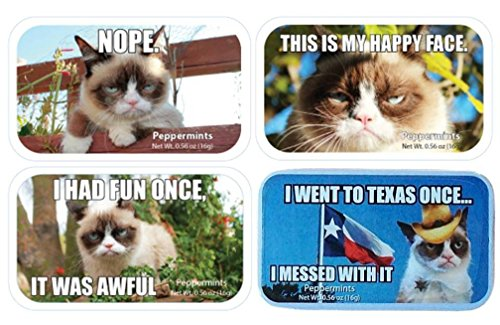 Grumpy Cat Sugar Free Peppermints Candy Tin 4 Saying Variety Bundle: (1) Nope, (1) I Had Fun Once, It Was Awful, (1) This Is My Happy Face, and (1) I Went To Texas Once... I Messed With It, .56 Oz Ea