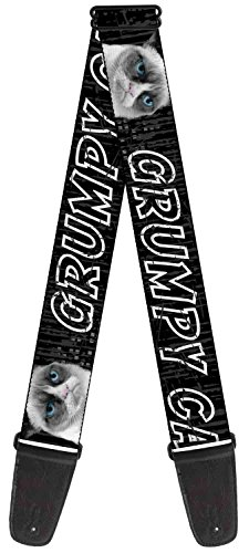 "Buckle-Down GS-WGC010 Guitar Strap - ""GRUMPY CAT w/Face CLOSE-UP Black/Gray Cat Scratch"""