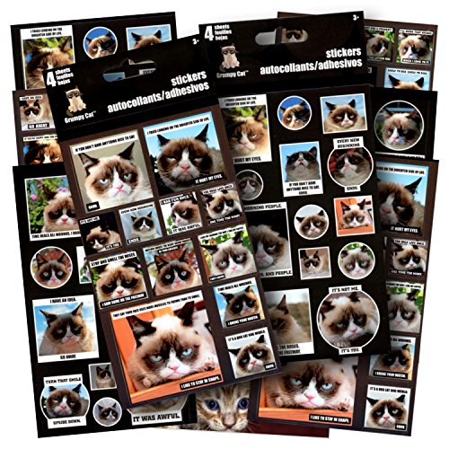 Grumpy Cat Stickers - 8 Sticker Sheets, Humorous Grumpy Cat Quotes Great for Crafting, Scrapbooking, Decorating and Snarking - Includes 1 Separately Licensed Cat Bookmark